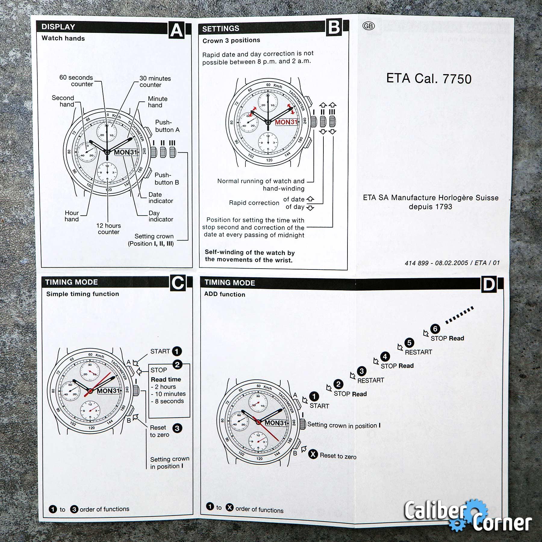 Eta Caliber 7750 Instructions - 414 889 02-02-2005