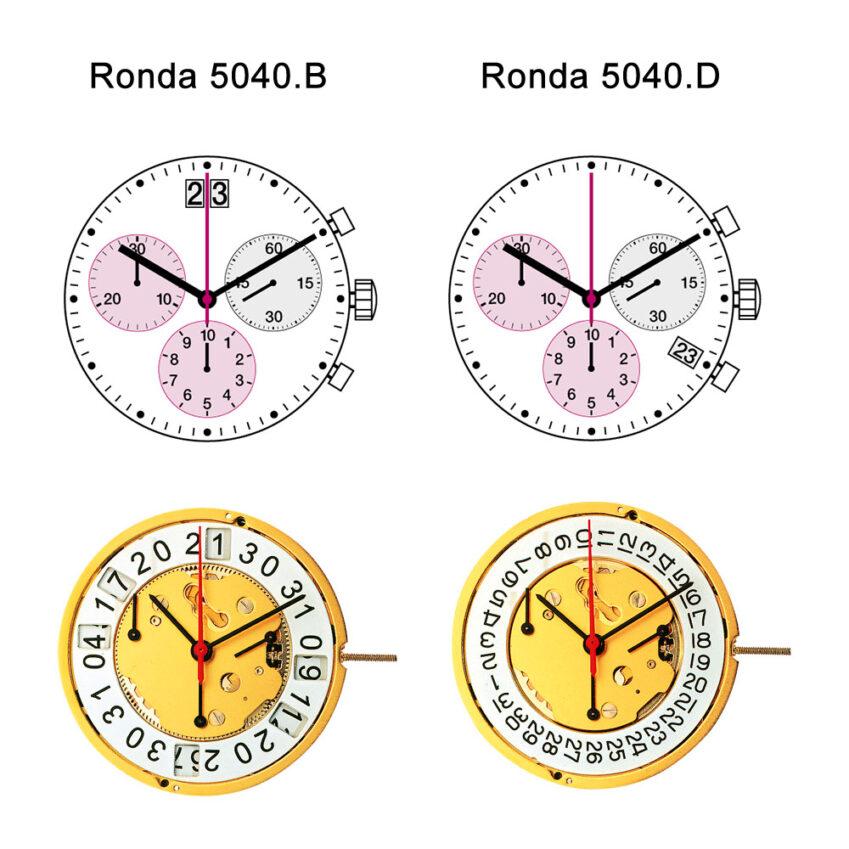 Ronda 5040.B vs 5040.D quartz watch movements