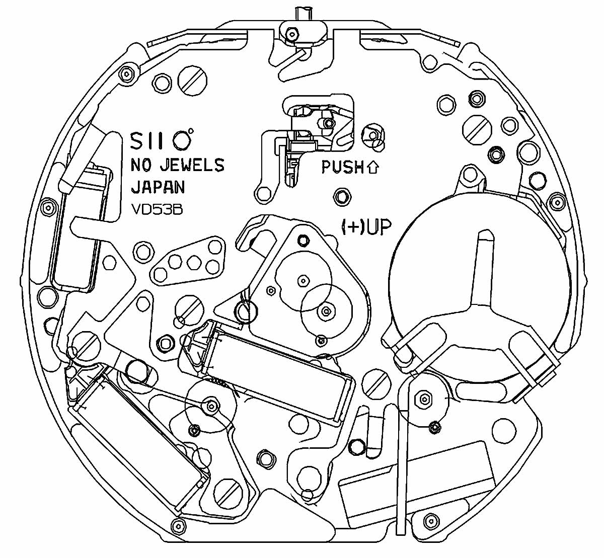 Hattori Seiko Caliber VD53B Quartz SII Movement Drawing TMI