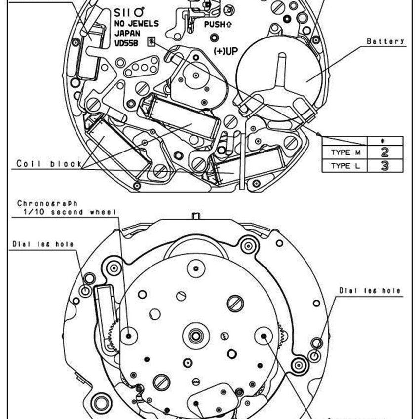 Caliber VD54B Seiko Japan Quartz Watch Movement