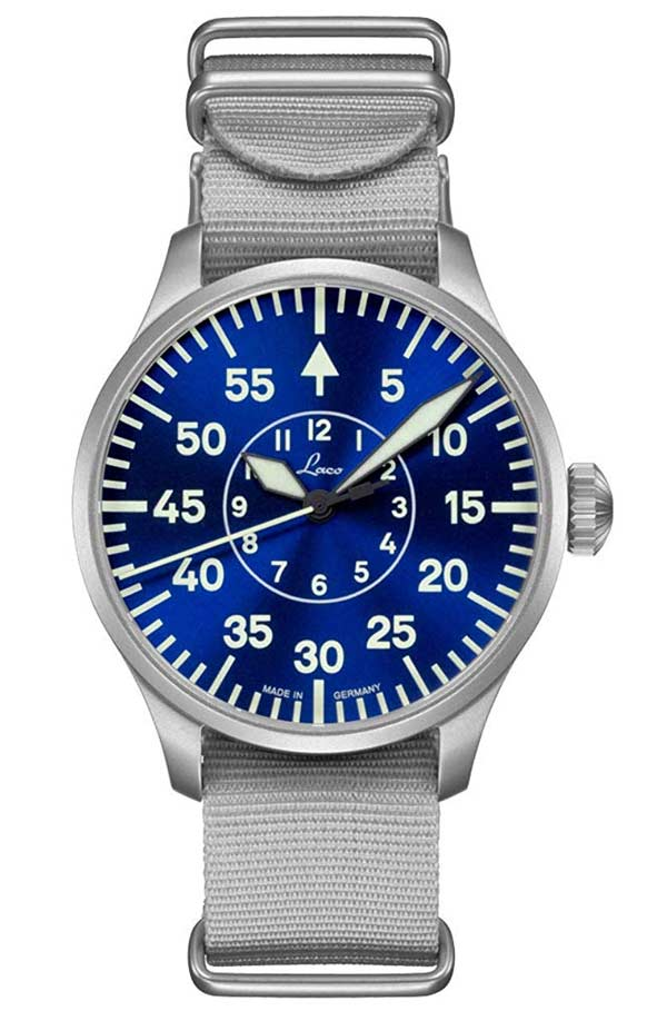 Laco Blue Pilot Watch Miyota 821a