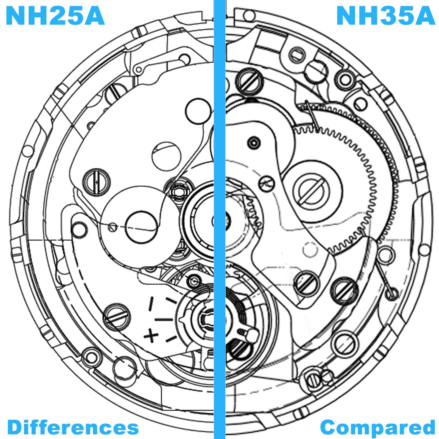 Seiko SII TMI NH25A vs NH35A Differences Compared