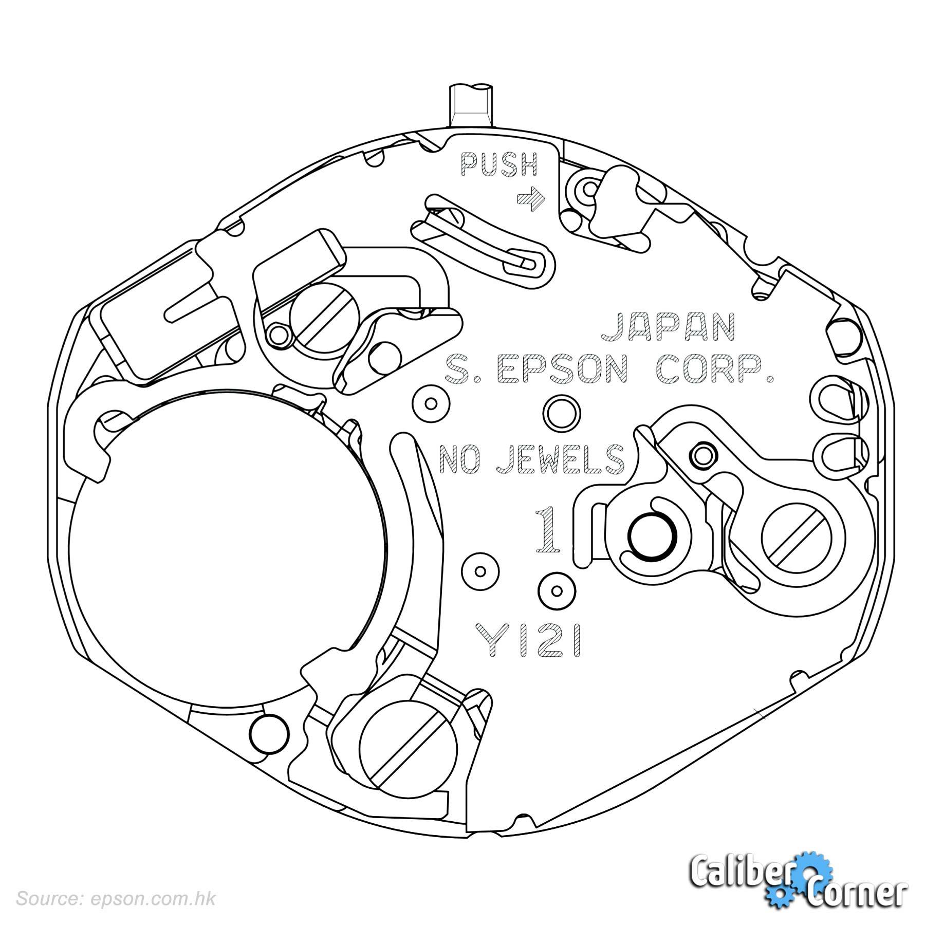 Epson Seiko Caliber Y121 Drawing