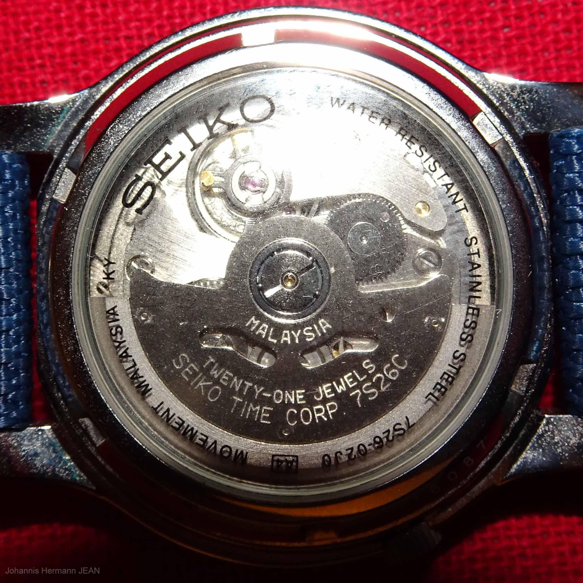 Seiko caliber 7S26C made in Malaysia
