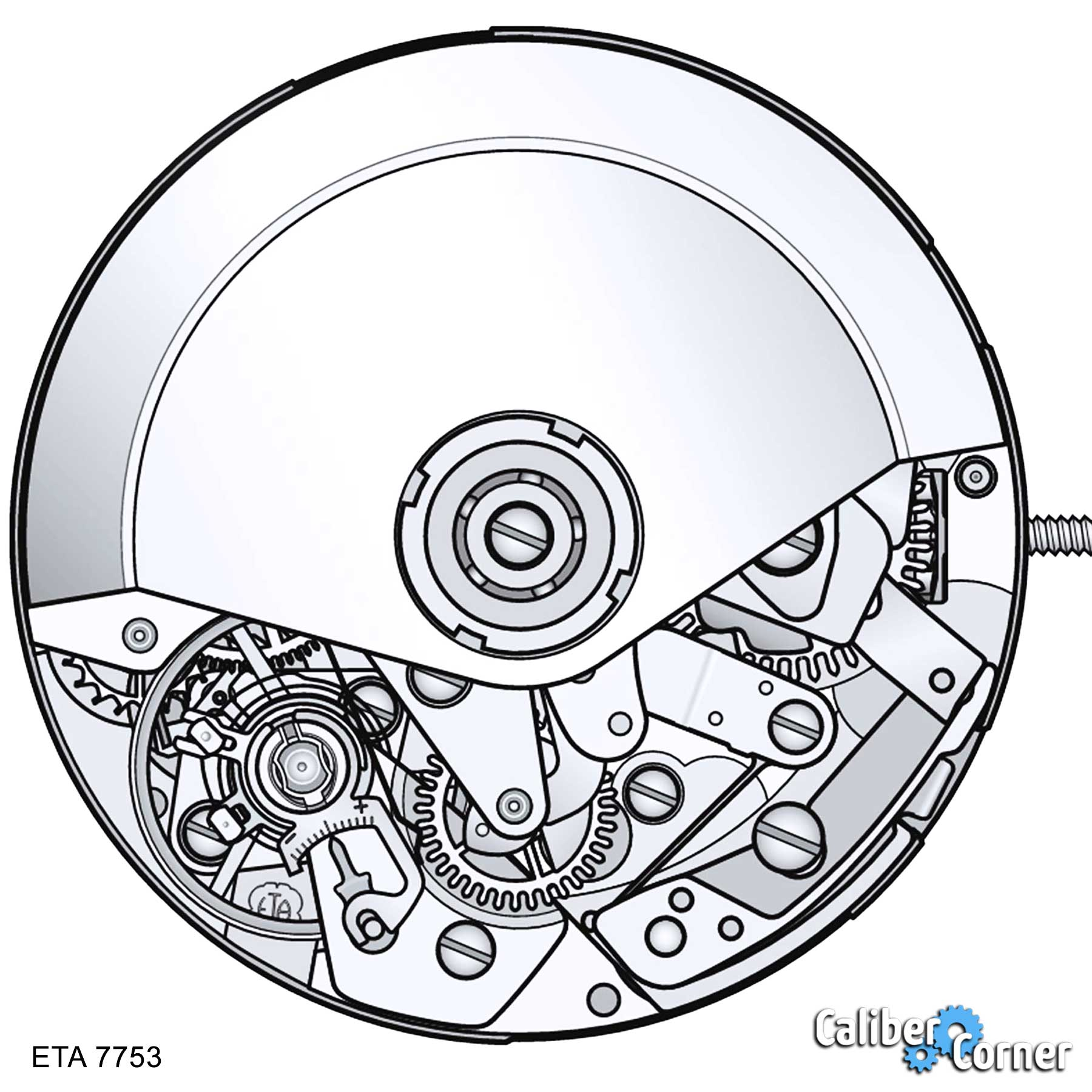 Eta Valjoux Caliber 7753 Drawing