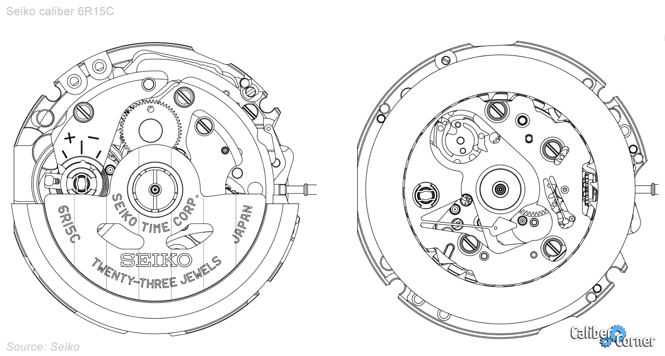 Seiko Caliber 6r15c Drawing