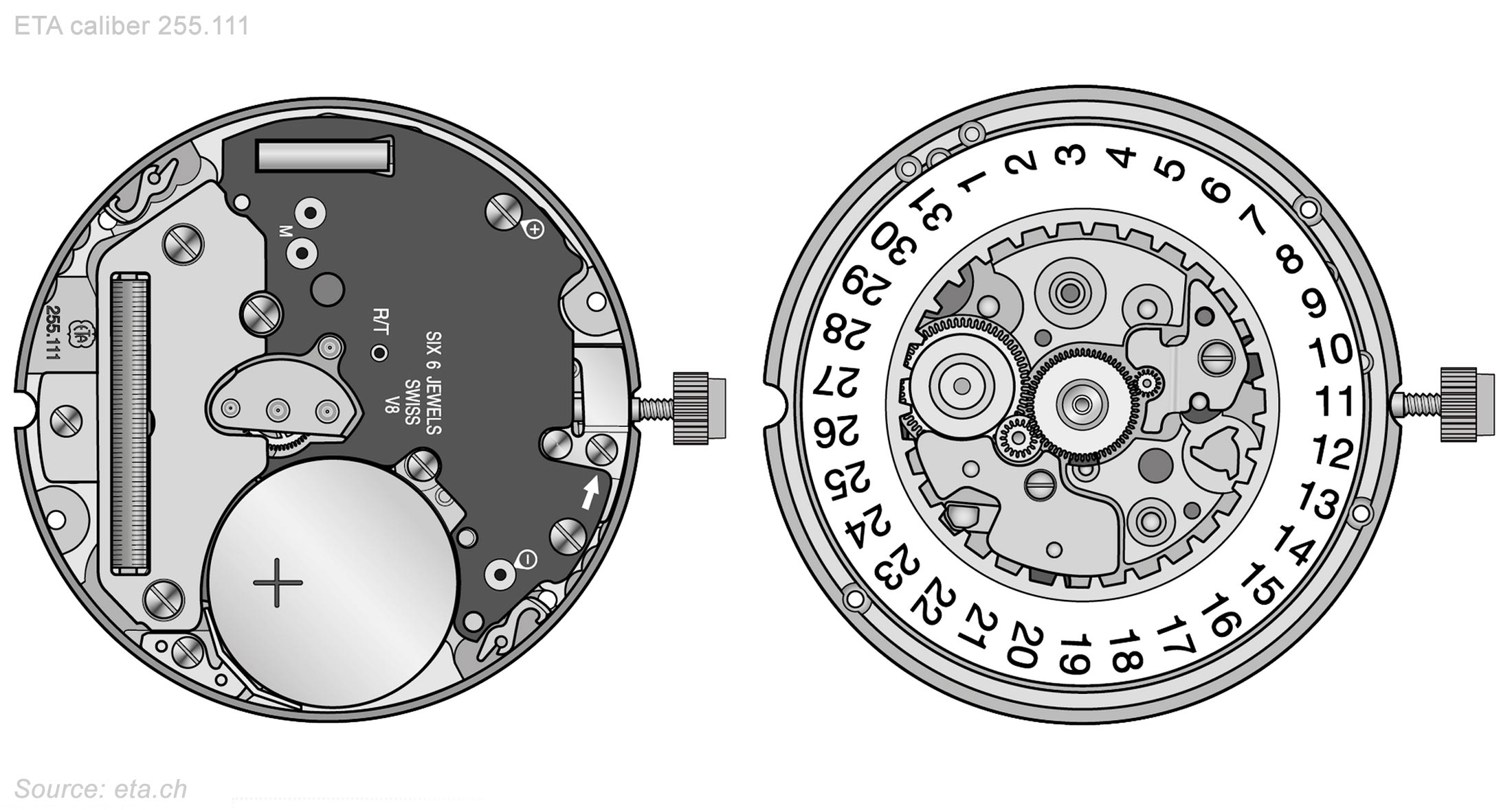 Eta Caliber 255 111 Drawings