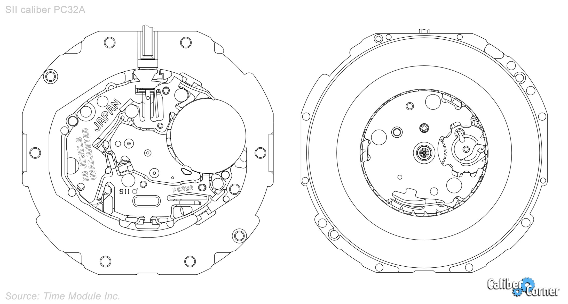 Seiko Sii Tmi Hattori Caliber Pc32a Drawing