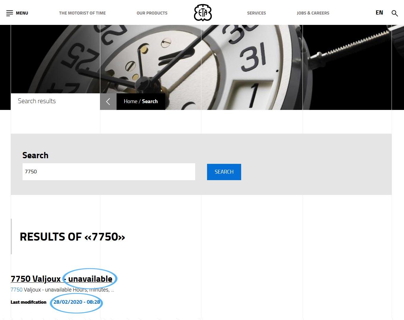 Eta Watch Movements Unavailable 2