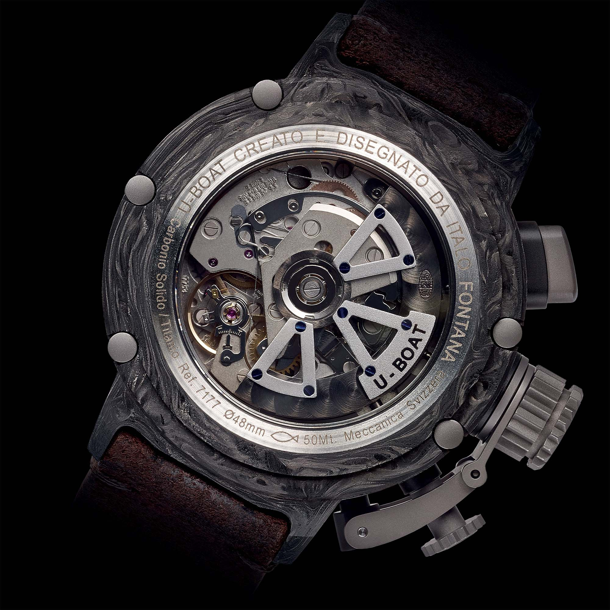 U Boat Carbon Gmt Movement 7750