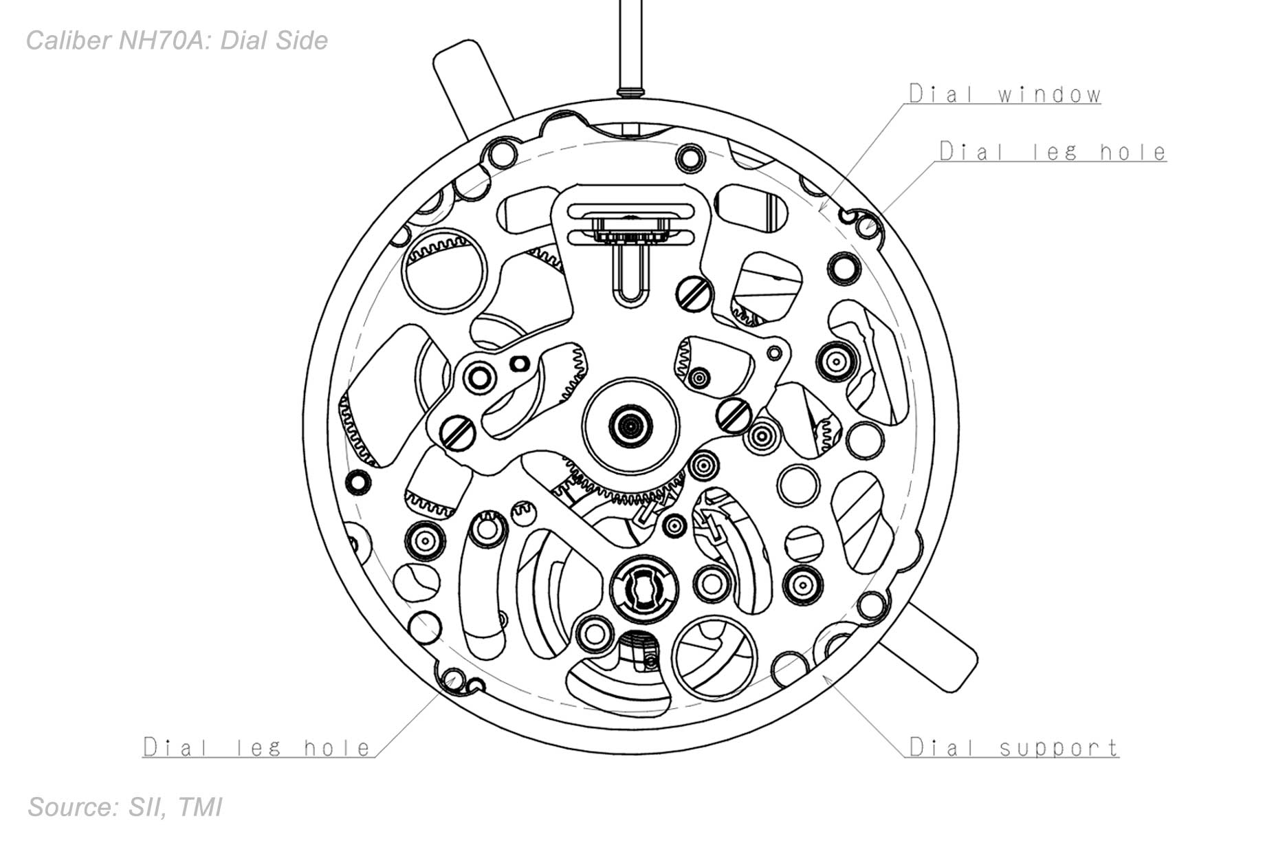 Seiko Caliber Nh70a Drawing Dial Side