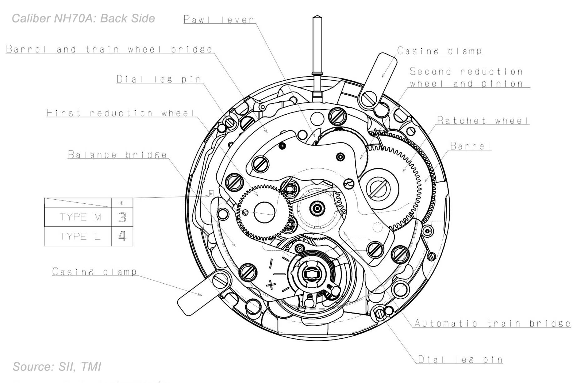 Seiko Caliber Nh70a Drawings