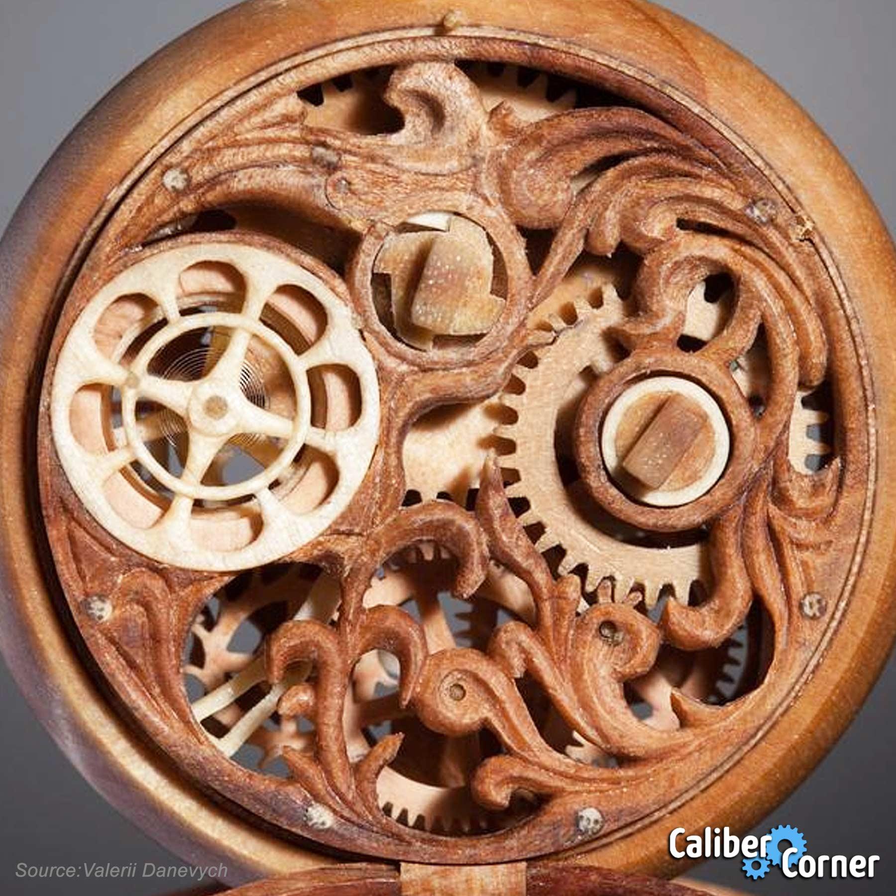 Valerii Danevych Wooden Pocket Watch Movement