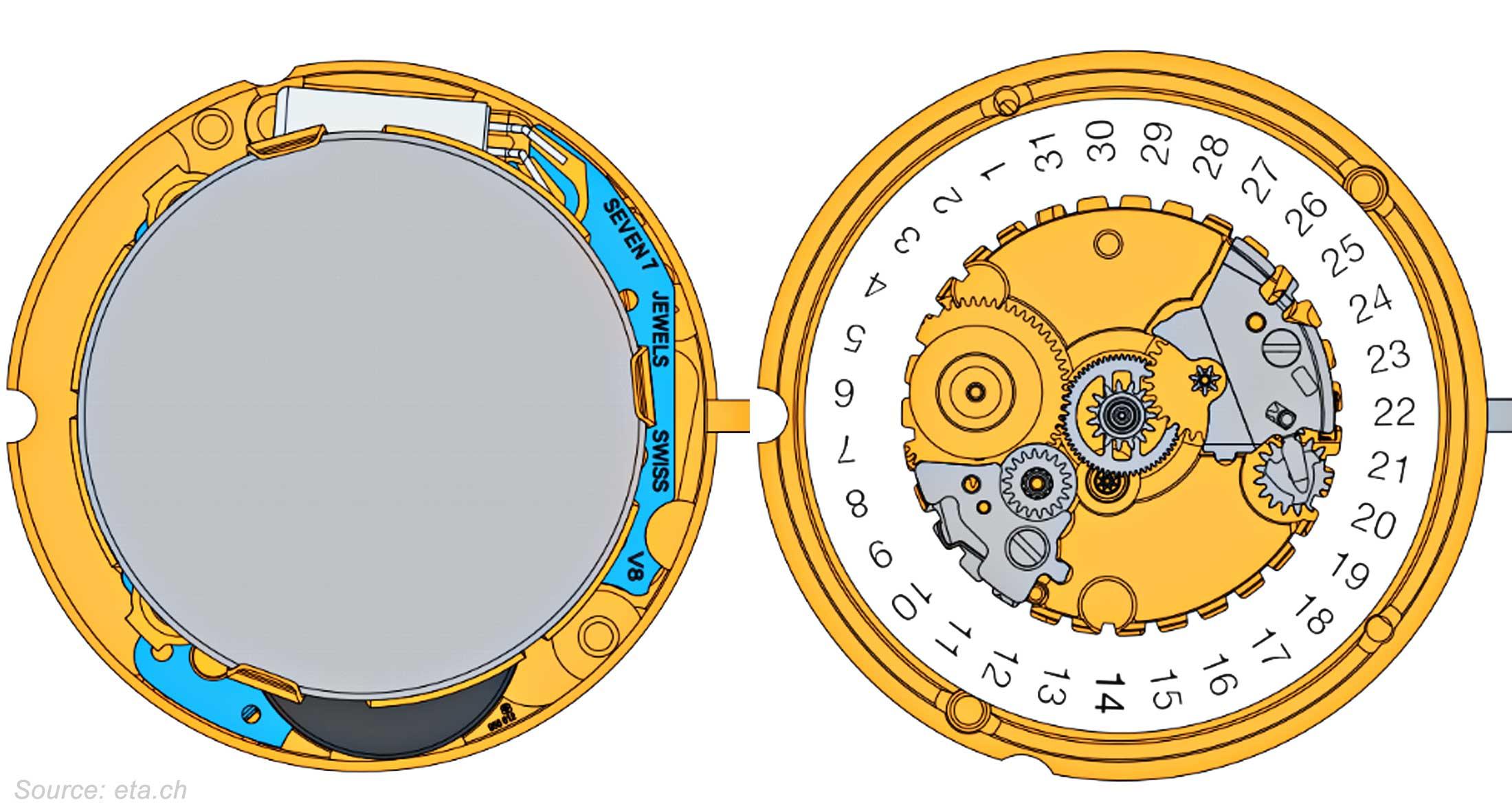 Eta Caliber 956 612 Technical Drawings